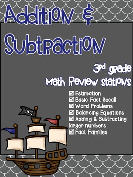 Addition & Subtraction 3rd Grade Math Review Stations