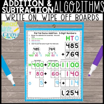 Addition & Subtraction Algorithms: Wipe On/Wipe Off Boards
