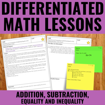 Addition, Subtraction And Early Algebra Lessons for Guided Math - Differentiated