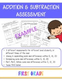 Addition & Subtraction to 5, 10, 20 Assessments