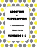 Addition + Subtraction Assessments + Flash Cards