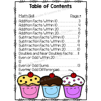 Addition & Subtraction Bakery Color By Number