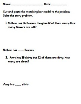 Addition Subtraction Bar Models:  Common Core Story Problems - Singapore Math
