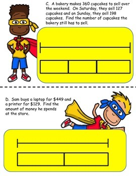 Bar Models: Word Problem Packet for 3rd 4th Grade Addition & Subtraction Centers