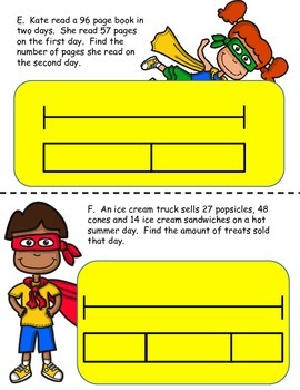 Bar Models: Word Problem Packet for 2nd Grade Addition & Subtraction Centers
