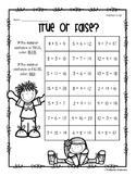 Addition / Subtraction Basic Facts True or False Activities