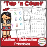 "Addition & Subtraction Bat & Spider Worksheets with ""Tap 'n Count"" points"