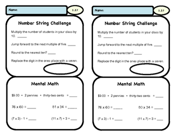 Addition, Subtraction, Beginning Multiplication - Daily Practice