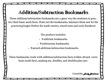 Addition/Subtraction Bookmarks