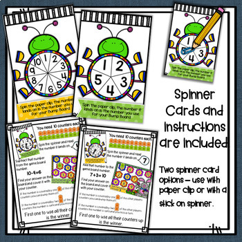 Addition & Subtraction Bump Games Bundle ~ 0-10 ~ Spring themed