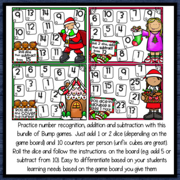 Addition & Subtraction Bump Games Bundle - Christmas themed