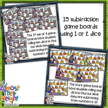 Addition & Subtraction Bump Games Bundle - Halloween themed
