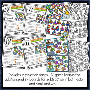 Addition & Subtraction Bump Games Bundle - sailing & fishing themed