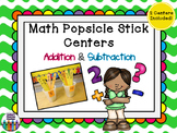 Addition & Subtraction Centers -2  Popsicle Stick Centers - Math Fluency!