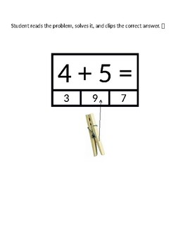 Addition Subtraction Clip Cards within 20