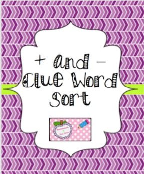 Addition & Subtraction Clue Word Sort