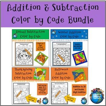 Addition & Subtraction Color by Code Bundle