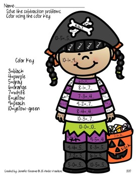 Addition/Subtraction Color by Number Halloween
