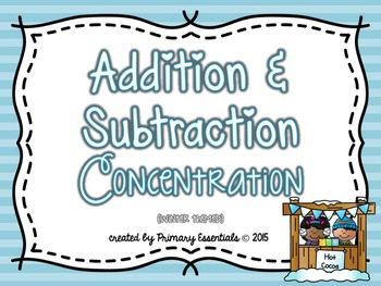 Addition & Subtraction Concentration (winter themed)