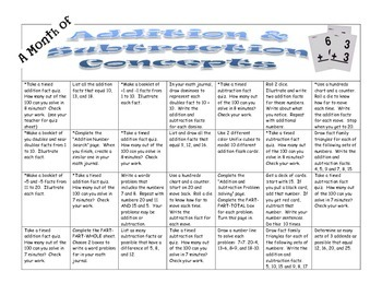 Addition & Subtraction Concepts:  A Month of Games and Act