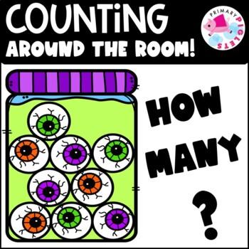 Addition & Subtraction Counting Halloween Eyeballs Math Center