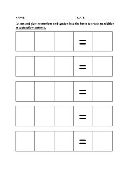 Addition/Subtraction Cut and Glue