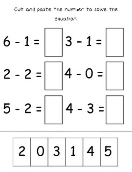 Addition & Subtraction Cut and Paste