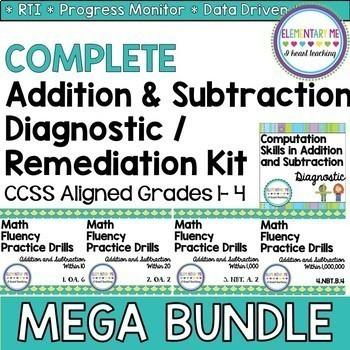 Addition & Subtraction Diagnostic / Remediation MEGA BUNDLE CCSS Aligned Gr 1-4
