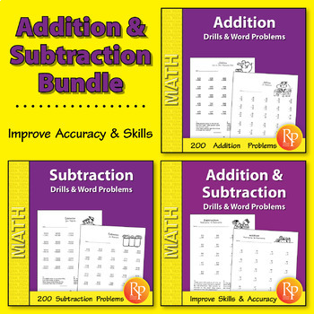 Addition & Subtraction: Drills & Word Problems Practice {Bundle}