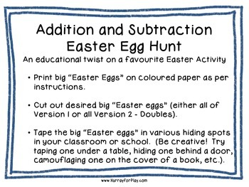 Addition & Subtraction Easter Egg Hunt (French)