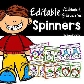 Addition & Subtraction Editable Spinners {FREEBIE}