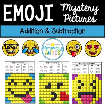 Addition & Subtraction Emoji Mystery Pictures