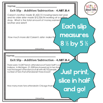 Addition & Subtraction Exit Slips (Fluency, Problem Solving) - 4th Grade