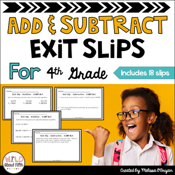 Addition & Subtraction Exit Slips (Fluency, Problem Solvin
