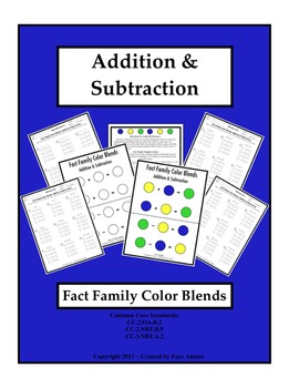 Addition & Subtraction Fact Family Color Blends
