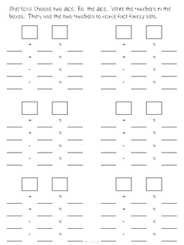 Addition-Subtraction Fact Family Dice Game