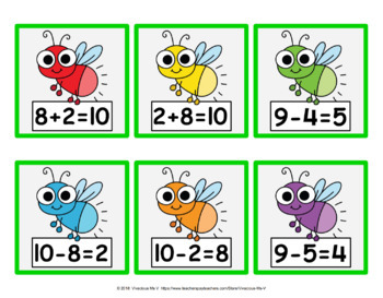 Addition/Subtraction Fact Family Fireflies (Set A)