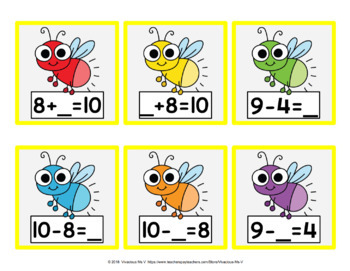 Addition/Subtraction Fact Family Fireflies (Set B)