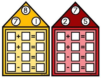 Addition & Subtraction Fact Family Houses {96 task houses included}