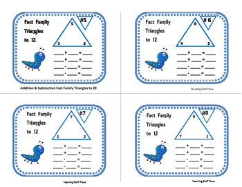 Addition & Subtraction to 20 | FACT FAMILY TRIANGLES|Task Cards | Gr 2 Math CORE