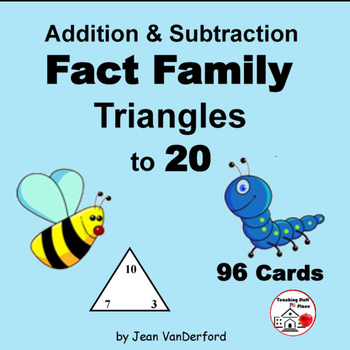 Addition & Subtraction to 20 | FACT FAMILY TRIANGLES|Task Cards | Gr ...