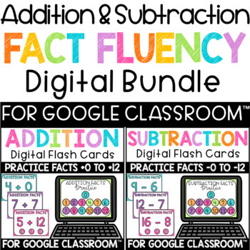 Addition & Subtraction Fact Fluency Digital Flashcards Interactive PDF BUNDLE