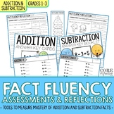 1st and 2nd Grade Addition Subtraction Math Fact Fluency Quizzes and Reflections