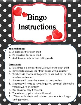 Addition & Subtraction Fact Fluency Fun with Math Bingo