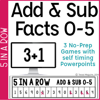 Addition & Subtraction Facts 0-5 5 in a Row: 3 No Prep Games & Powerpoints