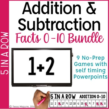 Addition & Subtraction Facts 5 in a Row Bundle: 9 No Prep Games & Powerpoints