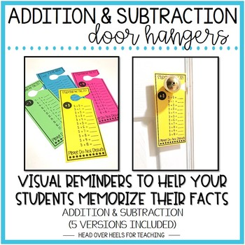 Addition & Subtraction Facts Door Hangers (0-12 Facts) Bundle