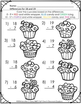 WINTER Addition & Subtraction Facts and Coloring Activity