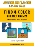 Addition & Subtraction: Find & Color Mystery Pictures (Nursery Rhymes)