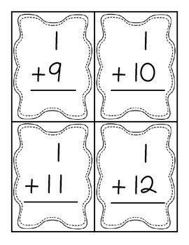 Addition & Subtraction Flash Cards [Black & White]